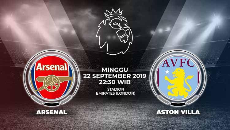 Berikut link live streaming pertandingan Liga Inggris 2019/20 antara Arsenal melawan Aston Villa yang akan berlangsung hari ini, Minggu (22/9/19) pukul 22.30 WIB. Copyright: © Grafis: Yanto/Indosport.com