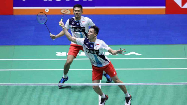 Fajar Alfian/Muhammad Rian Ardianto berhasil mengalahkan rekan senegaranya Marcus Fernaldi Gideon/Kevin Sanjaya Sukamuljo di perempatfinal Korea Open 2019. Copyright: © Humas PBSI