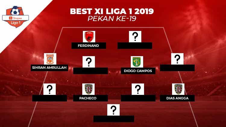 Starting terbaik Liga 1 2019 pekan ke-19. Copyright: © INDOSPORT