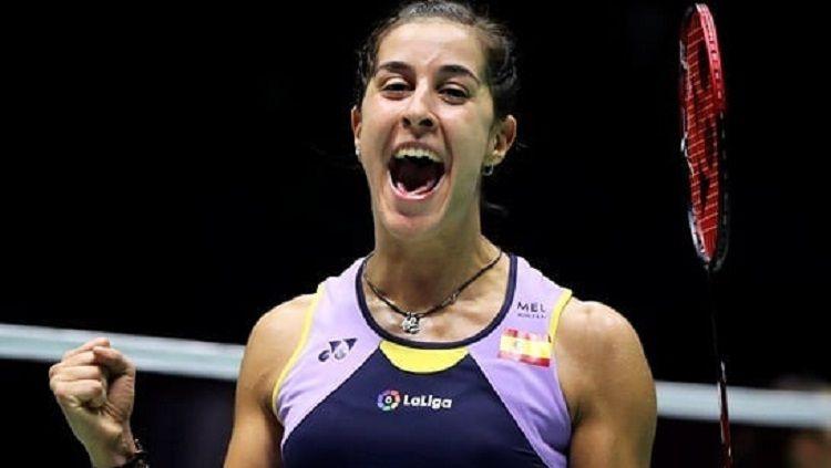 Carolina Marin merayakan kemenangan di semifinal China Open 2019. Copyright: © Instagram @carolinamarin