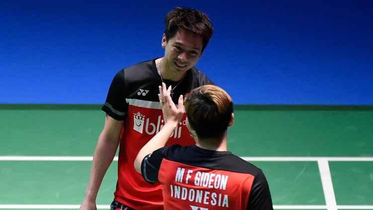 Pasangan ganda putra Indonesia, Marcus Fernaldi Gideon/Kevin Sanjaya Sukamuljo. Copyright: © Matt Roberts/Getty Images