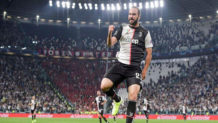Selebrasi pemain Juventus Gonzalo Higuain usai cetak gol ke gawang Bayern Leverkusen di laga Liga Champions, Rabu (02/10/19). Copyright: © twitter.com/juventusfc
