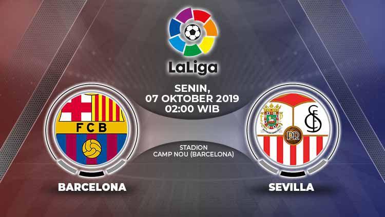Dengan segenap rekor apik, Barcelona diunggulkan untuk mengalahkan Sevilla dalam laga pekan delapan LaLiga Spanyol pada Senin (7/10/19) pukul 02.00 WIB. Copyright: © Grafis: Yanto/Indosport.com