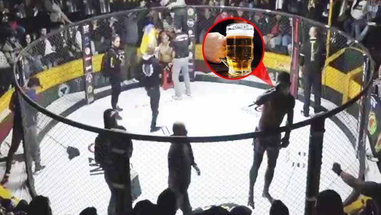 Petarung MMA asal Brasil, Paulo Bananad tengah meminum bir di tengah ronde sebelum dipermalukan rivalnya asal Peru, Johnny Iwasaki Copyright: © thesun.co.uk