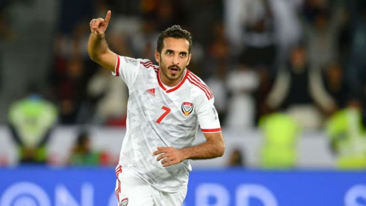 Striker Timnas Uni Emirat Arab (UEA) Ali Mabkhout. Copyright: © Yahoo News India