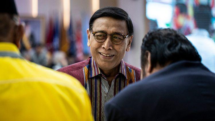 Kementerian Koordinator Bidang Politik, Hukum, dan Keamanan Republik Indonesia, Wiranto, yang juga menjabat sebagai ketum PBSI. Copyright: © Donal Husni/NurPhoto via Getty Images
