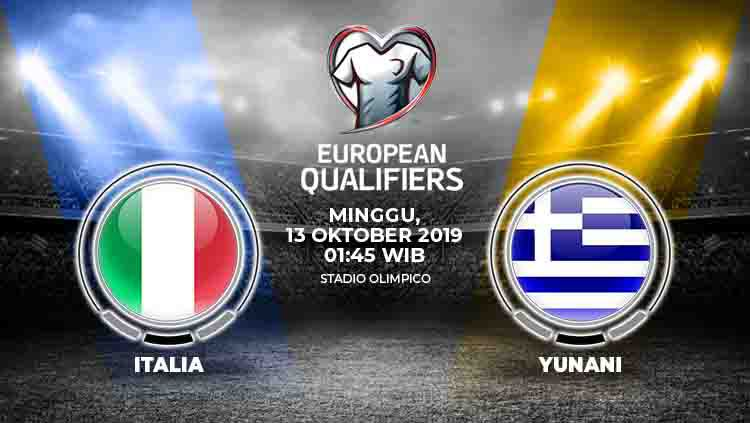 Prediksi pertandingan Italia vs Yunani pada matchday 7 Kualifikasi Euro 2020 Grup J, Minggu (13/10/19), pukul 01.45 WIB, di Stadion Olimpico. Copyright: © INDOSPORT