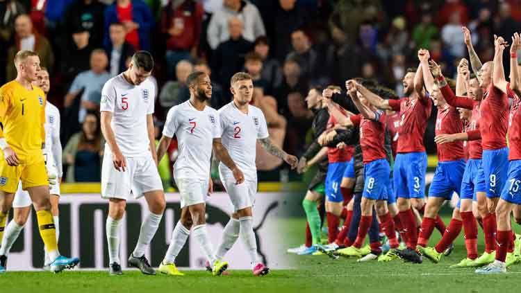Penggawa timnas Inggris tertunduk lesu usai ditaklukan Ceko dengan skor 2-1. Copyright: © PressFocus/MB Media/Thomas Eisenhuth/Getty Images