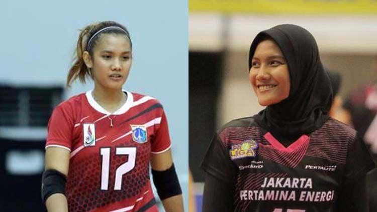 Atlet voli, Nandita Ayu Salsabila, sebelum dan sesudah berhijab. Copyright: © volleyballinfo