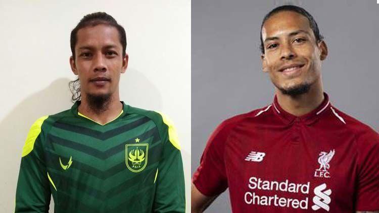 Kiper PSIS Semarang Jandia Eka Putra dianggap memiliki kemiripan dengan bek Liverpool, Virgil van Dijk. Copyright: © INDOSPORT