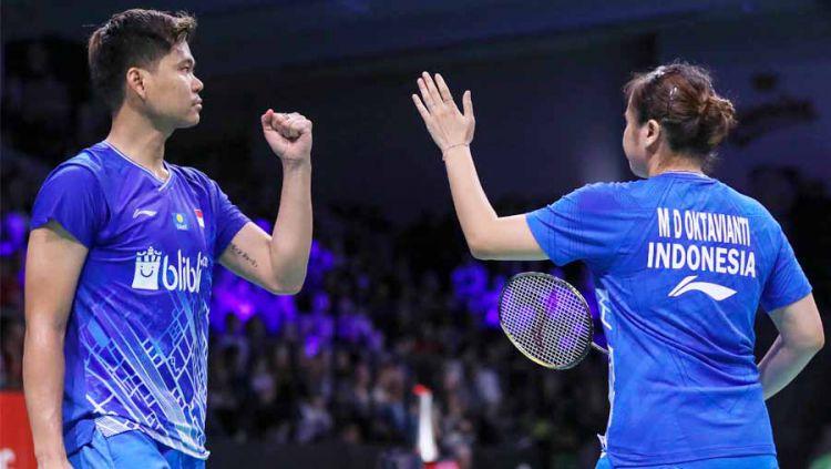 Praveen Jordan/Melati Daeva Oktavianti akhirnya berhasil menumbangkan pemain nomor satu dunia, Zheng Siwei/Huang Ya Qiong (Tiongkok). Copyright: © badmintonindonesia.org