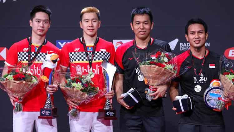 Berikut rekap dominasi BWF World Tour sepanjang tahun 2019, di mana para pebulutangkis Indonesia mampu menjadi raja di sektor ganda putra. Copyright: © Humas PBSI