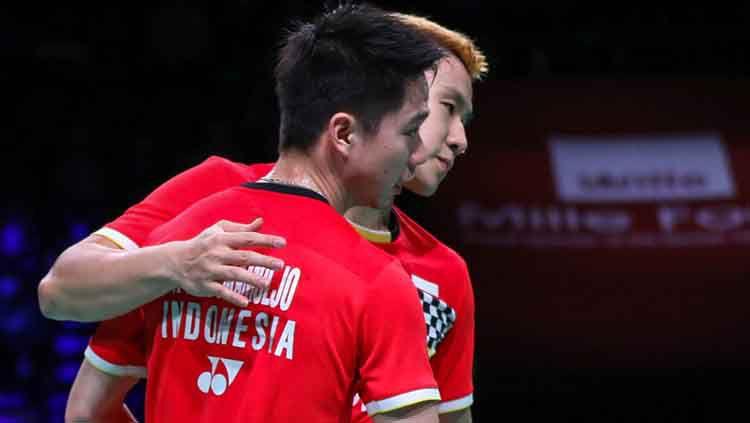 Marcus Fernaldi Gideon/Kevin Sanjaya Sukamuljo lolos semifinal Fuzhou China Open 2019 usai mengalahkan Mark Lamsfuss/Marvin Siedel. Copyright: © Humas PBSI