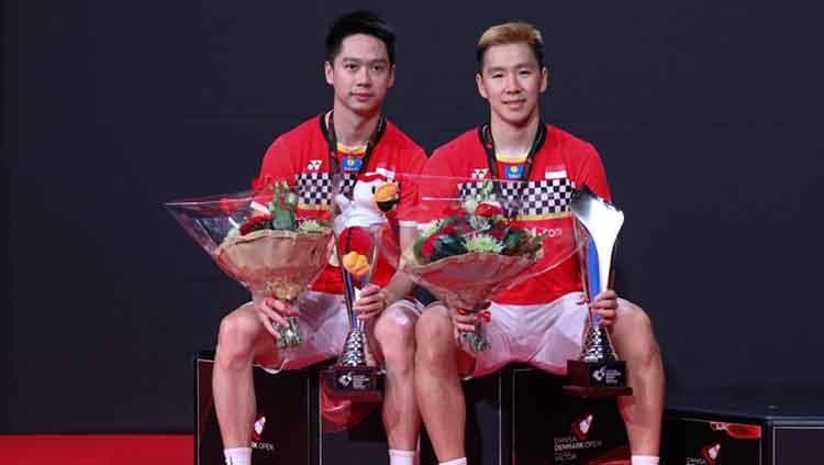 Marcus Fernaldi Gideon/Kevin Sanjaya Sukamuljo mengungkap tantangan terbesarnya sebelum tampil di BWF World Tour Finals, Rabu (11/12/19), di Tianhe Gymnasium. Copyright: © Humas PBSI