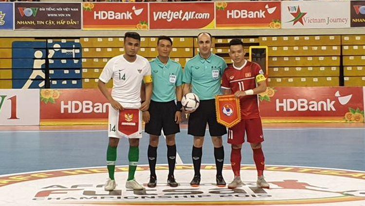 Timnas Futsal Indonesia jelang lawan Vietnam di Piala AFF Futsal 2019. Copyright: © Twitter.com/aseanfootball