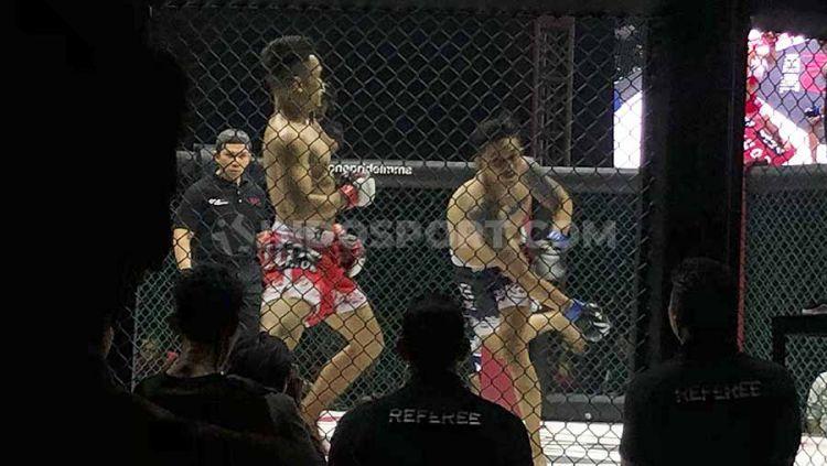 Aktor Indonesia, Randy Pangalila sukses memenangi duel bertajuk Celebrity Fight dalam gelaran One Pride MMA Fight Night 33 melawan rekan sesama aktor, Adhi Pawitra, Sabtu (26/10/19) malam WIB. Copyright: © Muhammad Harris Muda/INDOSPORT