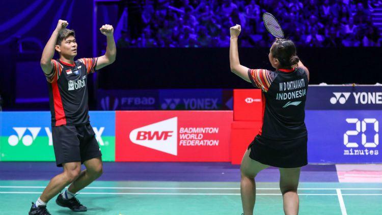 BWF menyebut pasangan Praveen Jordan/Melati Daeva Oktavianti 'Kejam' setelah menang secara dramatis dari unggulan 2 di perempatfinal All England 2020. Copyright: © PBSI