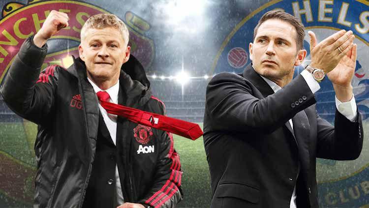 Kunci bagi Ole Gunnar Solskjaer untuk membawa Manchester United mengalahkan Frank Lampard dan Chelsea adalah formasi 3 bek. Copyright: © Grafis: Yanto/Indosport.com