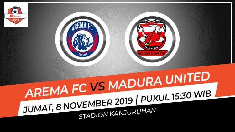 Jadwal pertandingan pekan ke-27 Shopee Liga 1 2019 hari ini, Jumat (8/11/19) pukul 15.30 WIB, akan menyajikan partai Arema FC melawan Madura United. Copyright: © INDOSPORT