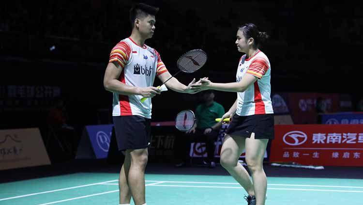 Praveen Jordan/Melati Daeva akan dihadang pasangan yang lebih diunggulkan Yuta Watanabe/Arisa Higashino di perempatfinal Fuzhou China Open 2019. Copyright: © Humas PBSI