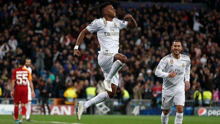 Selebrasi Pemain Real Madrid Usai mencetak gol ke gawang Galatasaray di Liga Champions Copyright: © twitter.com/realmadrid