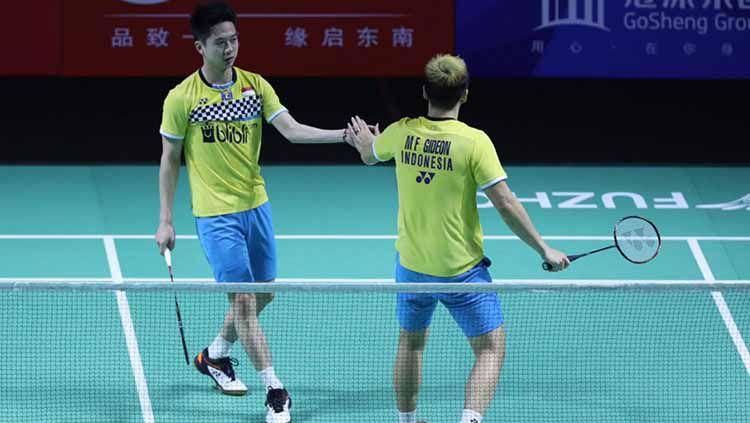 Kevin Sanjaya/Marcus Gideon kembali pecah rekor usai mengalahkan wakil India, Satwiksairaj Rankireddy/Chirag Shetty dan melaju ke final Fuzhou China Open 2019 Copyright: © Humas PBSI