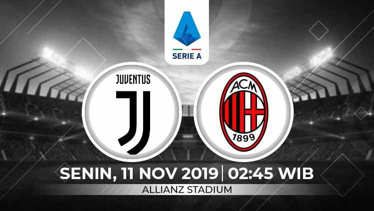 Prediksi pertandingan pekan ke-12 Serie A Italia 2019-2020 antara Juventus vs AC Milan, Senin (11/11/19) dini hari WIB. Copyright: © INDOSPORT