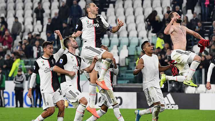 Pemain Juventus merayakan kemenangan atas AC Milan pada laga Serie A Italia di Allianz Stadium. Copyright: © Juventus FC/Juventus FC via Getty Images