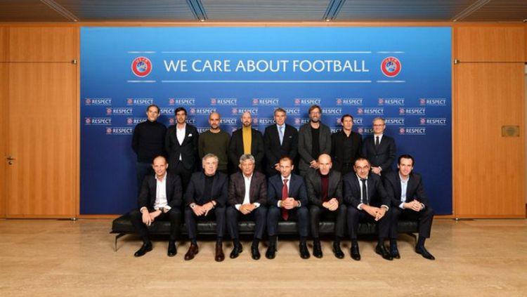 Para pelatih klub-klub top Eropa berkumpul di markas UEFA, Nyon, Swiss, untuk membicarakan peraturan sepak bola. Copyright: © UEFA