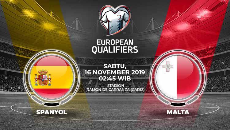 Spanyol diprediksi akan mengalahkan Malta dalam laga kesembilan grup F Kualifikasi Euro 2020 melawan Malta di Ramon de Carranza, Sabtu (16/11/19), 02.45 WIB. Copyright: © Grafis: Yanto/Indosport.com