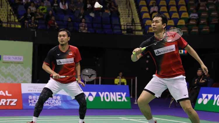Mohammad Ahsan/Hendra Setiawan mendapatkan sorotan BWF usai mengalahkan Li Junhui/Liu Yuchen di babak semifinal Hong Kong Open 2019, Sabtu (16/11/19). Copyright: © badmintonindonesia.org
