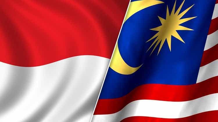 Bendera Indonesia dan Malaysia Copyright: © Ilustrasi/INDOSPORT