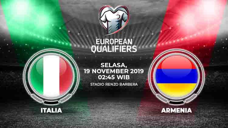 Berikut prediksi pertandingan Kualifikasi Euro 2020 Italia vs Armenia, Selasa (19/11/19) dini hari WIB. Copyright: © INDOSPORT