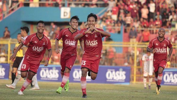 Selebrasi gol pemain Persijap Jepara di Liga 3 2019. Copyright: © Persijap Jepara