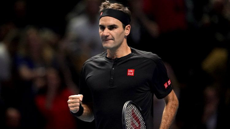 Roger Federer di turnamen tenis Nitto ATP Finals 2019. Copyright: © Tess Derry/PA Images via Getty Images