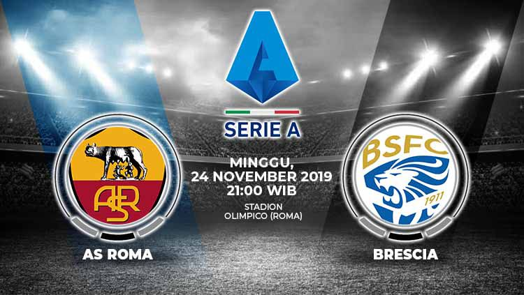Prediksi laga AS Roma yang akan menjamu Brescia dalam laga lanjutan Serie A Liga Italia pekan ke-13 yang akan diselenggarakan di Olimpico pada hari Minggu (24/11/2019) pukul 21.00 WIB. Copyright: © INDOSPORT