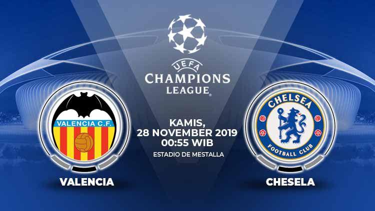 Berikut prediksi pertandingan matchday kelima Liga Champions 2019-2020 antara Valencia vs Chelsea di Stadion Mestalla, Kamis (28/11/19) dini hari WIB. Copyright: © INDOSPORT