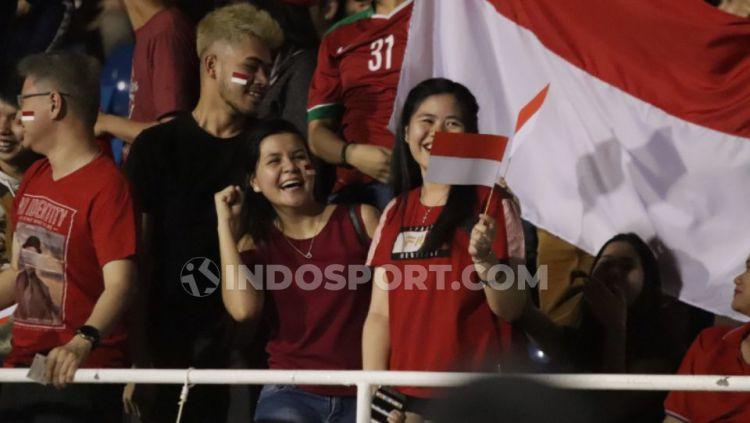 Suporter Timnas Indonesia U-23 takut bila nanti akan bertemu Vietnam lagi di laga final sepak bola SEA Games 2019. Copyright: © Ronald Seger Prabowo/INDOSPORT