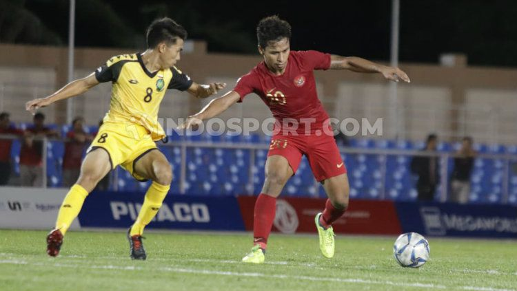 Pemain Timnas U-23, Osvaldo Haay mencetak tiga gol dalam laga SEA Games 2019 melawan Timnas Brunei Darussalam. Copyright: © Ronald Seger Prabowo/INDOSPORT