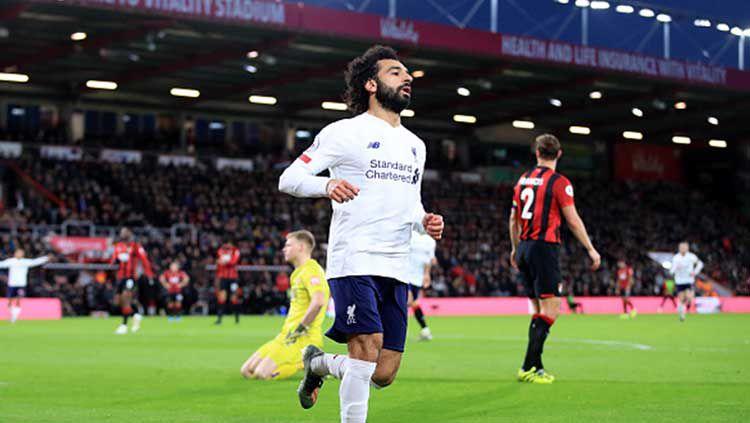 Hasil pertandingan Liga Inggris Bournemouth vs Liverpool yang digelar Sabtu (07/12/19) malam WIB, seakan menjadi panggung untuk pemain tim tamu, Mohamed Salah. Copyright: © Adam Davy/GettyImages
