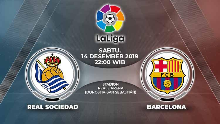 Berikut prediksi pertandingan antara Real Sociedad vs Barcelona dalam lanjutan LaLiga Spanyol di Stadion Anoeta, Sabtu (14/12/19) WIB Copyright: © Grafis: Indosport.com