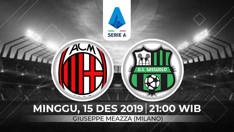 AC Milan diprediksi bakal menemui hadangan yang cukup berat untuk bisa meraih tiga poin kala menjamu Sassuolo di pekan ke-16 Serie A Italia, Minggu (15/12/19). Copyright: © Grafis: Indosport.com