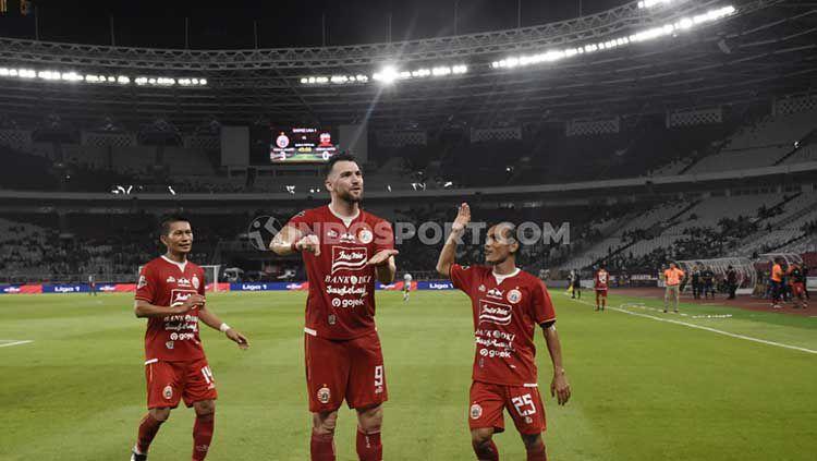 Selebrasi Marko Simic di laga Liga 1 2019, Persija vs Madura United. Copyright: © Herry Ibrahim/INDOSPORT