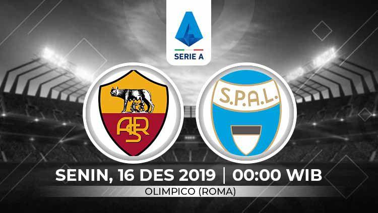 Prediksi pertandingan Serie A Liga Italia 2019-2020 antara AS Roma vs SPAL, Senin (16/12/19). Copyright: © Grafis: Ynt/Indosport.com