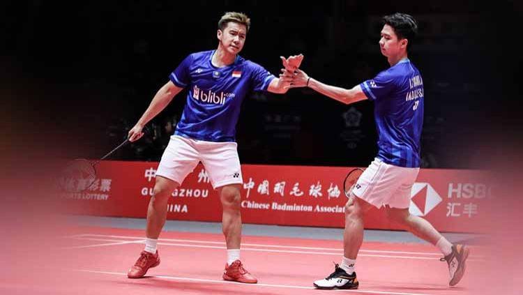 Walau gagal di World Tour Finals 2019, nyatanya pasangan Kevin Sanjaya/Marcus Gideon masih menjadi yang terdepan di sektor ganda putra dunia. Copyright: © Shi Tang/Getty Images