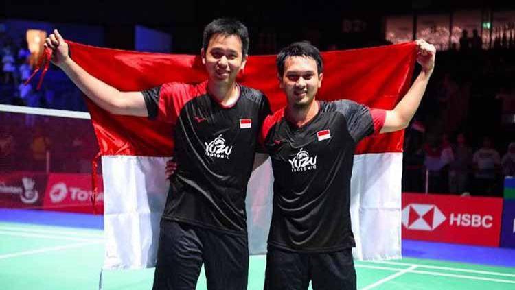 Kehebatan Mohammad Ahsan/Hendra Setiawan tak henti-hentinya mampu menginspirasi atlet lainnya termasuk pebulutangkis asal Malaysia yakni Teo Ee Yi. Copyright: © ANTARA FOTO/Hafidz Mubarak
