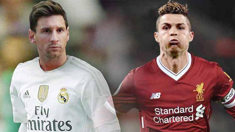 Lionel Messi (Real Madrid) dan Cristiano Ronaldo (Liverpool). Copyright: © Grafis:Ynt/Indosport.com