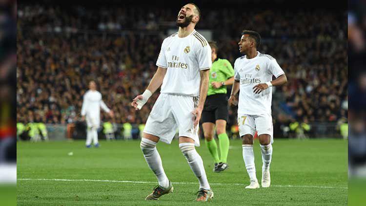 Ekpresi Karim Benzema usai gagal memanfaatkan peluang emas ketika melawan Athletic Bilbao. Copyright: © Denis Doyle/Getty Images
