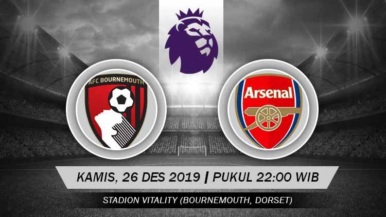Arsenal akan bertemu Bournemouth dalam laga Liga Inggris pekan ke-19 yang akan diselenggarakan di Dean Court pada hari Kamis (26/12/2019) pukul 22.00 WIB. Copyright: © Grafis: Indosport