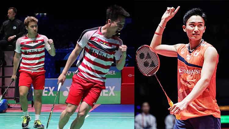 Pernyataan pebulutangkis Jepang, Kento Momota soal pemain ganda putra Indonesia, Kevin Sanjaya Sukamuljo jadi sorotan media China.  Copyright: © INDOSPORT